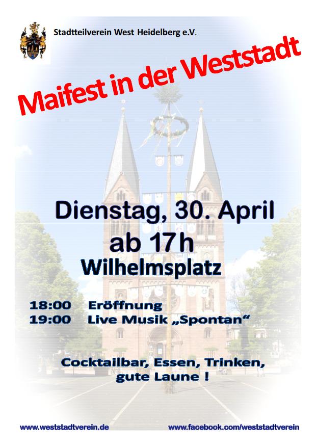Plakat für Maifest in der Weststadt am 30. April 2019 ab 17 Uhr auf dem Wilhelmsplatz